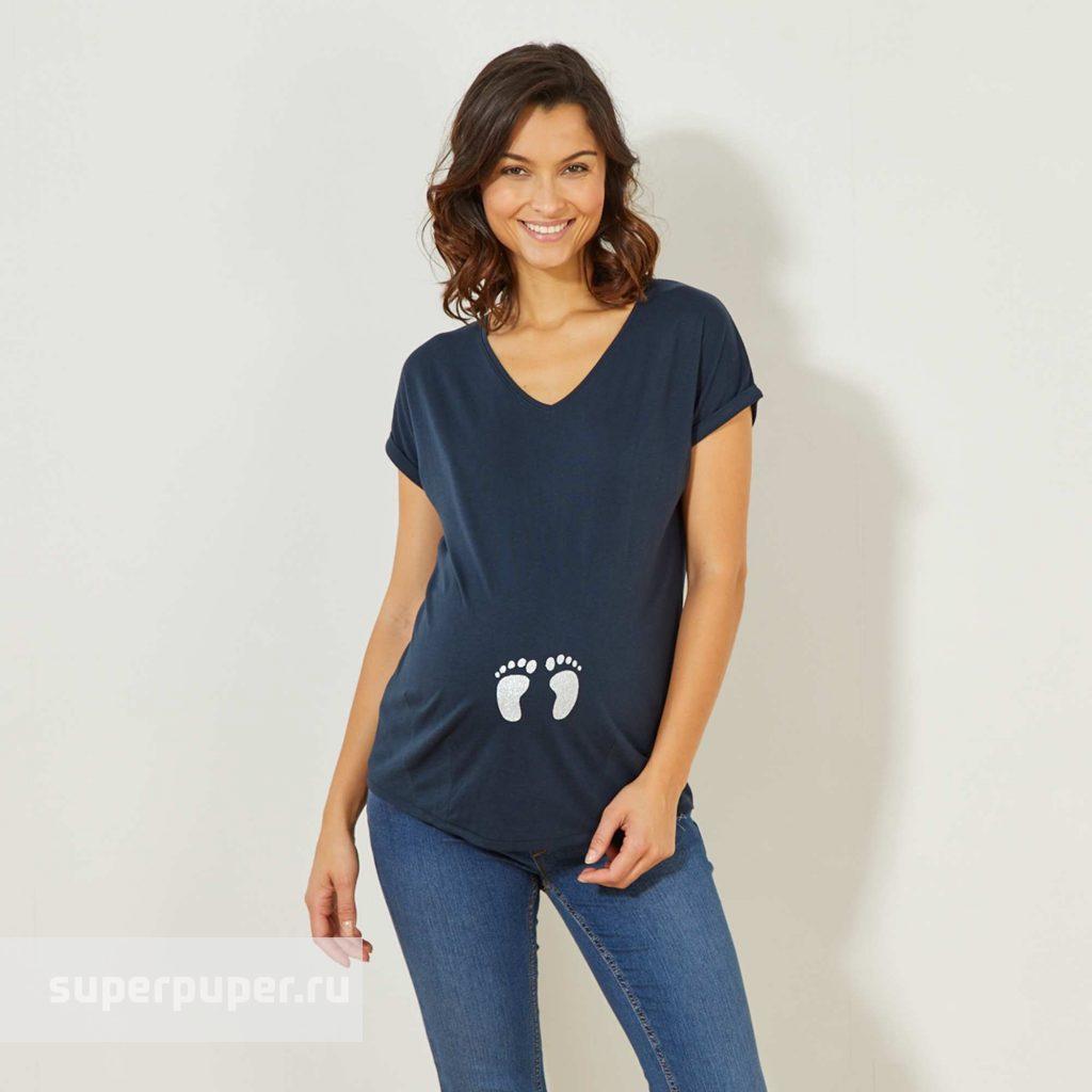 d30c37f9077 Kiabi Взрослым 103 • Футболка для беременных - синий VS039 ...