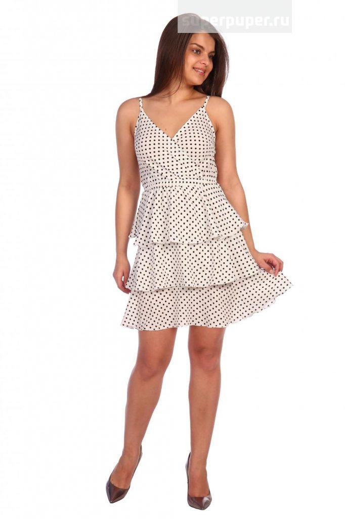 3f5dc1ad11f Rina 4 • Платье - сарафан Кэндис (3166). Расцветка  горох на белом ...