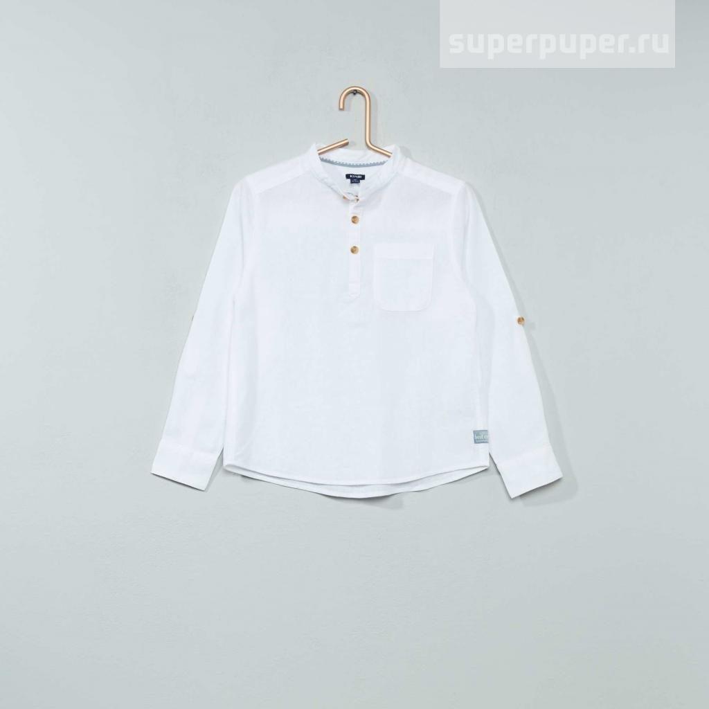 23a4bd90912 Kiabi Детям 13 • Рубашка из льна и хлопка - белый VT508 • Совместные ...