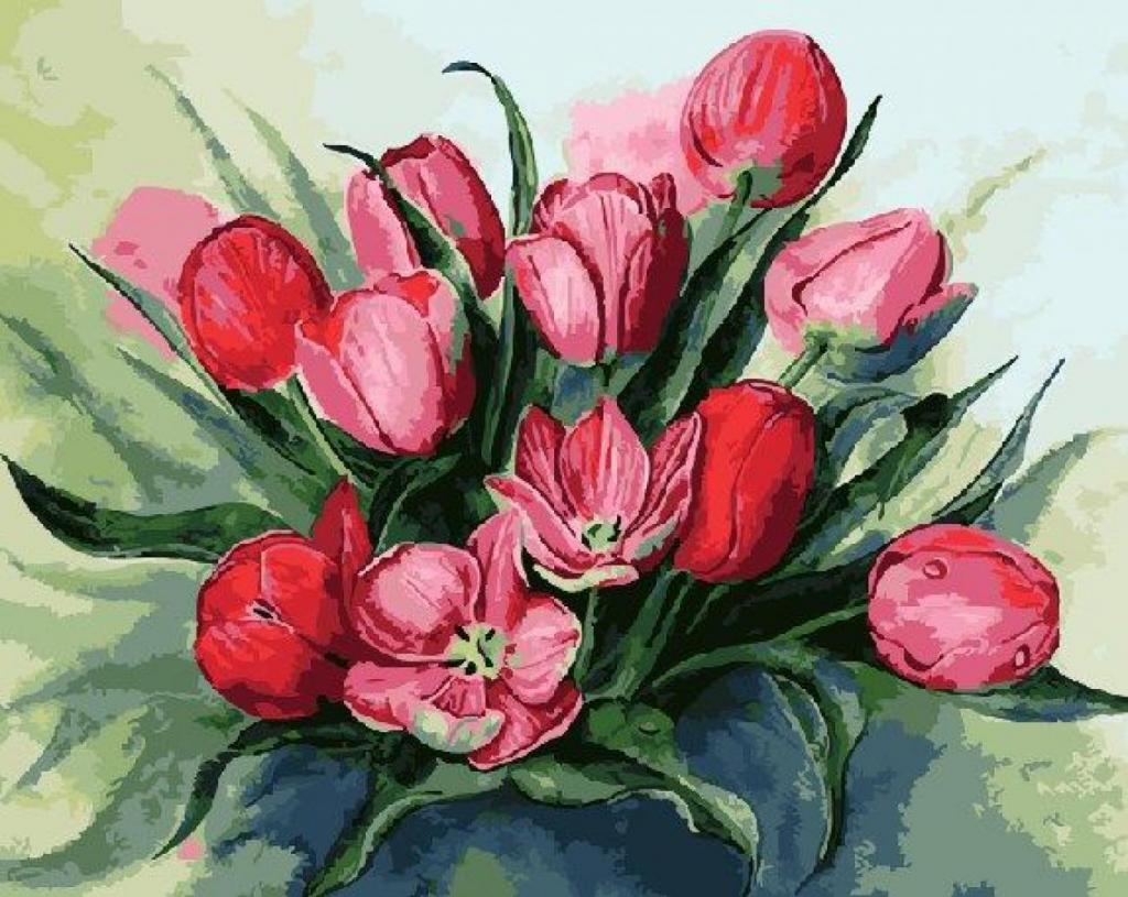 Открытка нарисованные тюльпаны